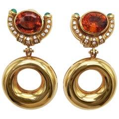 Madeira Topaz Earrings 18 Karat Gold and Emeralds