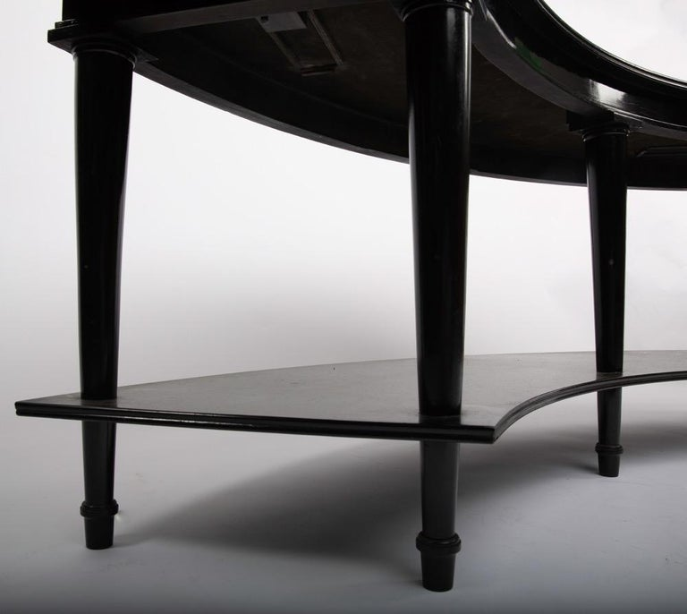 Neoclassical Madeleine Castaing, Pair of Side Tables with Foldable Ends, Black Lacquered Wood For Sale