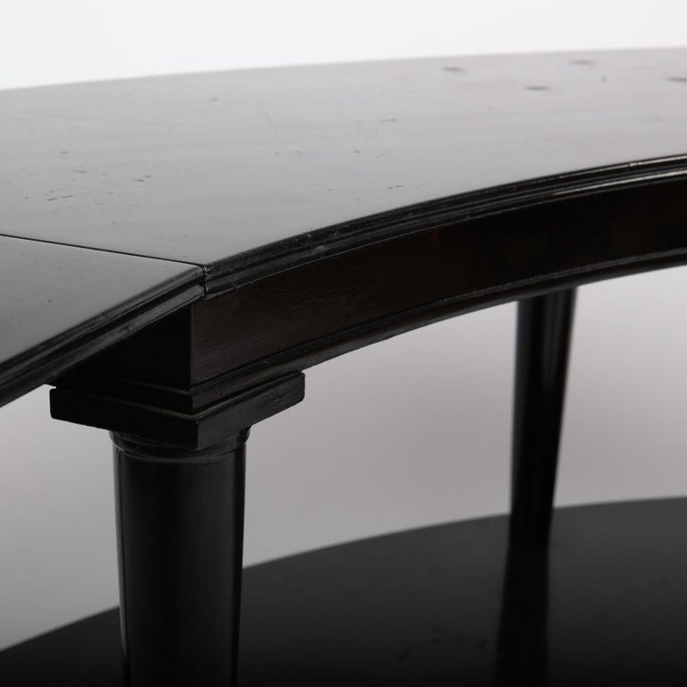French Madeleine Castaing, Pair of Side Tables with Foldable Ends, Black Lacquered Wood For Sale