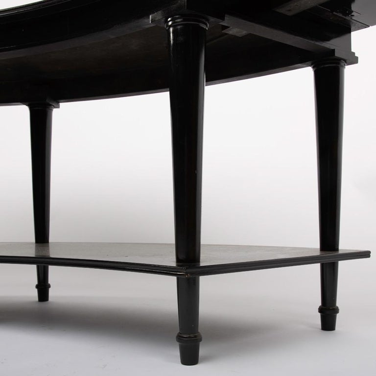 Madeleine Castaing, Pair of Side Tables with Foldable Ends, Black Lacquered Wood In Good Condition For Sale In Brussels, BE