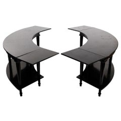 Madeleine Castaing, Pair of Side Tables with Foldable Ends, Black Lacquered Wood