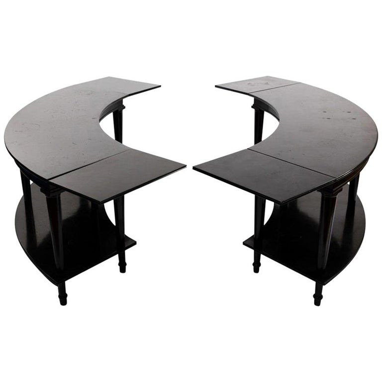 Madeleine Castaing, Pair of Side Tables with Foldable Ends, Black Lacquered Wood For Sale