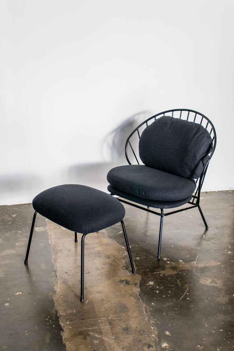 Brazilian Madeleine Contemporary Armchair and Ottoman in Carbon Steel For Sale