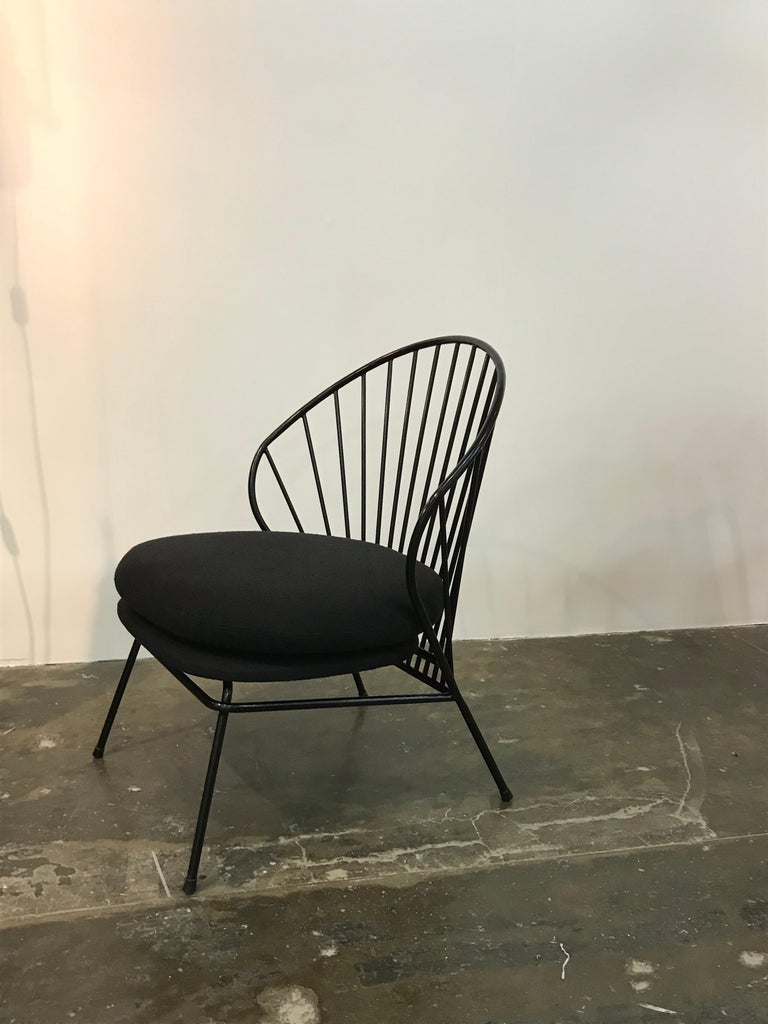 Painted Madeleine Contemporary Armchair and Ottoman in Carbon Steel For Sale