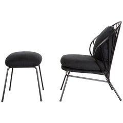 Madeleine Contemporary Armchair and Ottoman in Carbon Steel