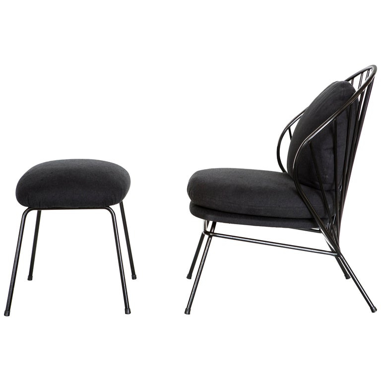 Madeleine Contemporary Armchair and Ottoman in Carbon Steel For Sale