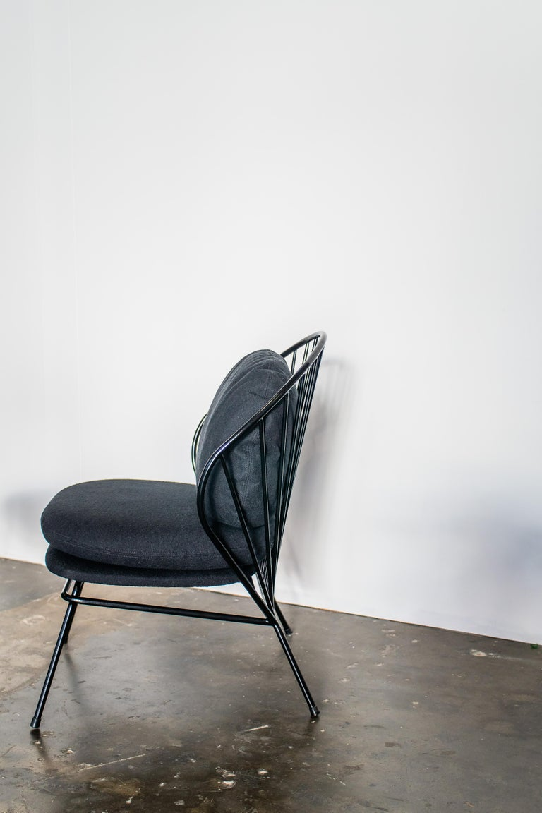 Other Madeleine Contemporary Armchair, Brazilian Design in Carbon Steel For Sale
