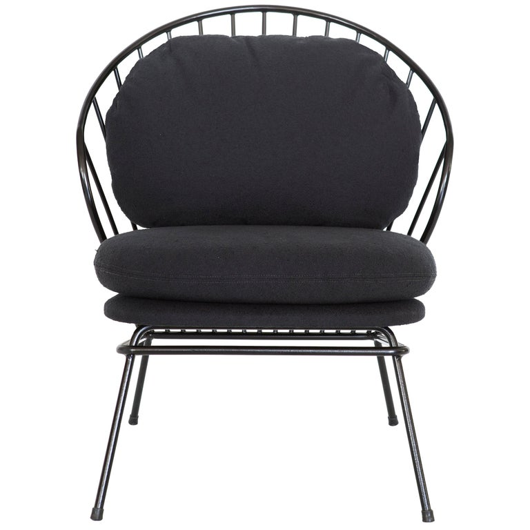 Madeleine Contemporary Armchair, Brazilian Design in Carbon Steel For Sale