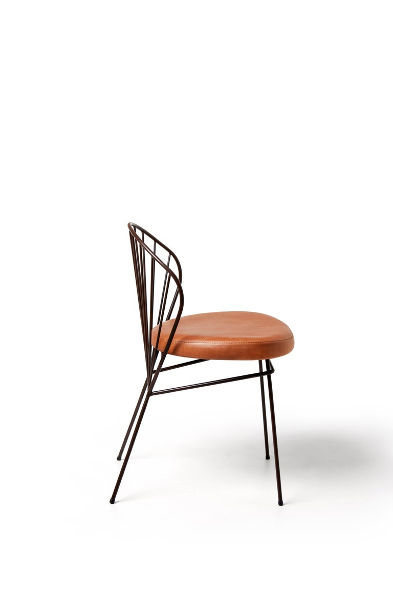 Other Madeleine Contemporary Chair, in stainless steel, Blue For Sale