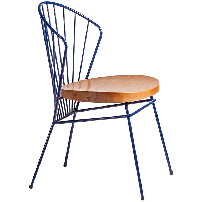 Madeleine Contemporary Chair, in stainless steel, Blue For Sale