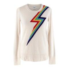 Madeleine Thompson Ivory Rainbow Pattern Cashmere Sweater - Size S
