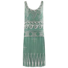 "MADELEINE VIONNET c.1924 ""Little Horses"" Soft Green Glass Beaded Flapper Dress"
