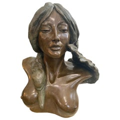 Madeline Cretella Signed and Numbered Bronze Bust of Woman with Bird