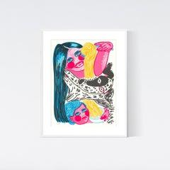 'Angel Hair' Original silkscreen print mother child dog pasta colorful serigraph