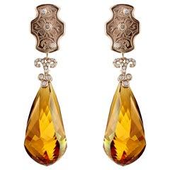 Madera Topaz Briolettes Vintage Cufflink Earrings