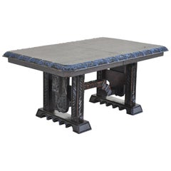 Maderas De Santa Barbara Gothic Carved Wood Elvis Jungle Room Style Dining Table