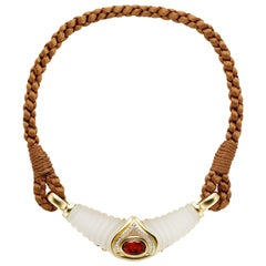 Maderia Citrine 18 Karat Yellow Gold and Braided Silk Necklace