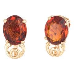 Maderia Citrine Stud Earrings Vintage 14 Karat Gold Jewelry Screw Backings