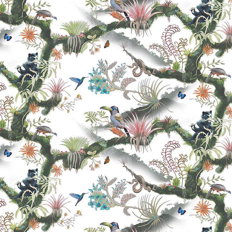 Madidi Clouds in Cream Botanical Tropical Medium Scale Wallpaper For Sale