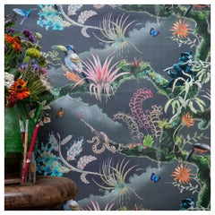 Madidi Clouds in Midnight Medium Scale Tropical Botanical Wallpaper