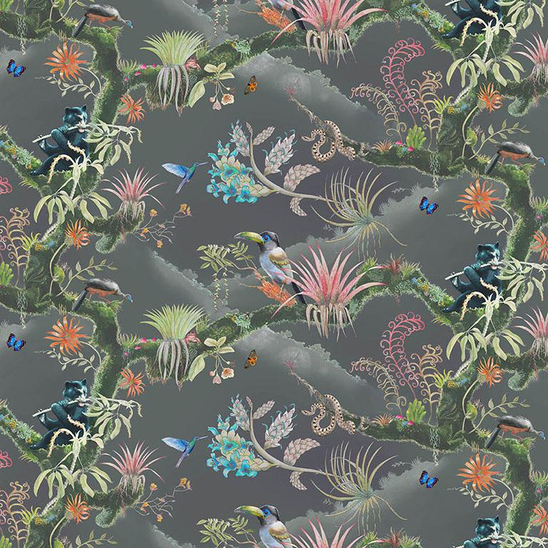 Madidi Clouds in Midnight Medium Scale Tropical Botanical Wallpaper For Sale