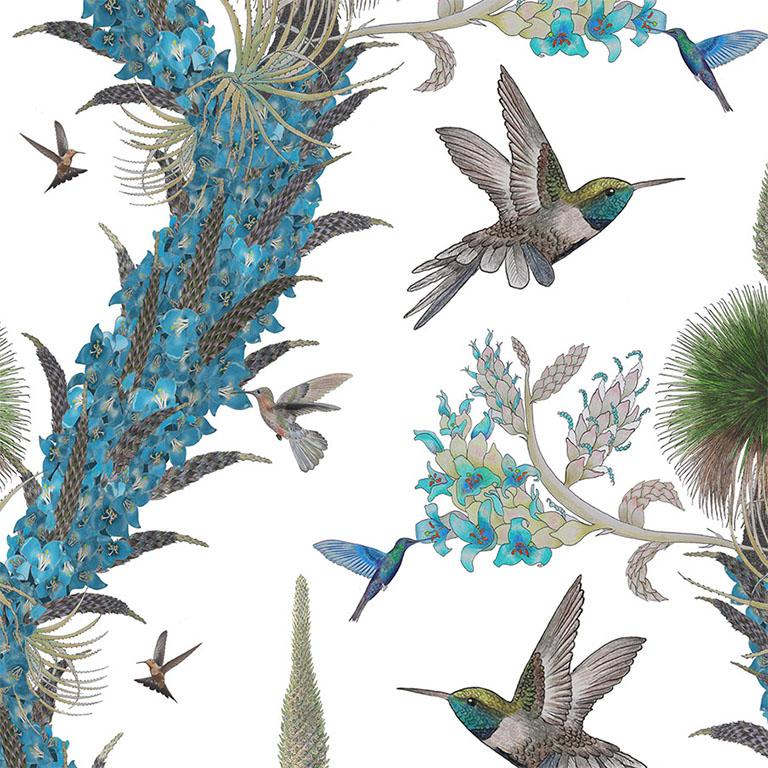 English Madidi Hummingbirds in Cream Botanical Wallpaper For Sale