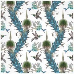 Madidi Hummingbirds in Cream Botanical Wallpaper