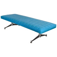 Madison Furn. Vinyl Faux Leather Turquoise Chrome Bench Daybed Style A. Umanoff