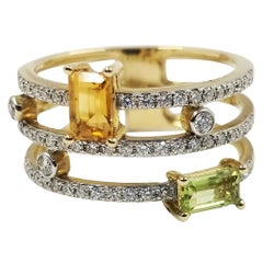 Madison L. Wide Geometric Peridot, Citrine, and Diamond Ring
