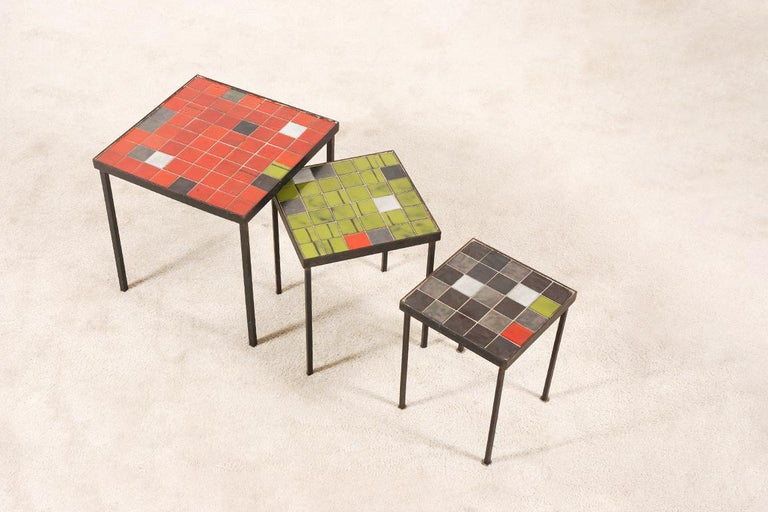 French Mado Jolain and René Legrand, Set of 3 Nesting Tables For Sale