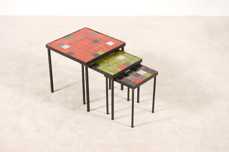 Mado Jolain and René Legrand, Set of 3 Nesting Tables In Excellent Condition For Sale In Paris, FR