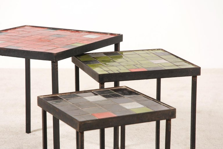 Mid-20th Century Mado Jolain and René Legrand, Set of 3 Nesting Tables For Sale