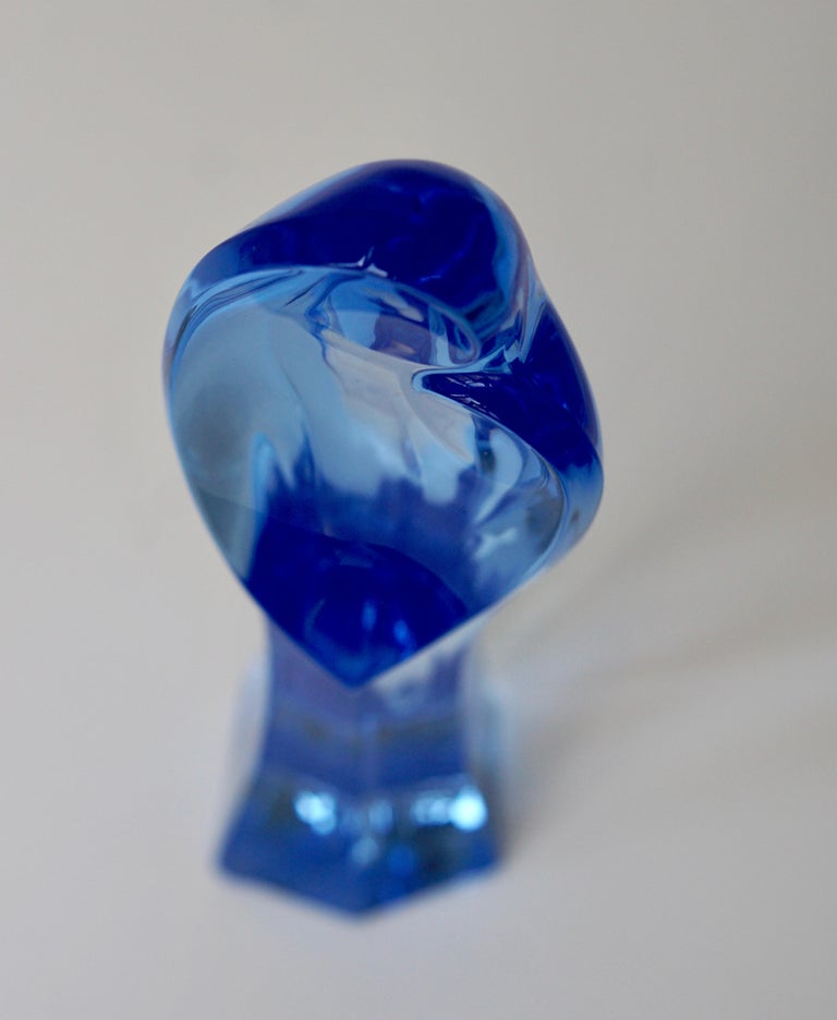 Madonna and Child Sapphire Blue Crystal Sculpture For Sale 10