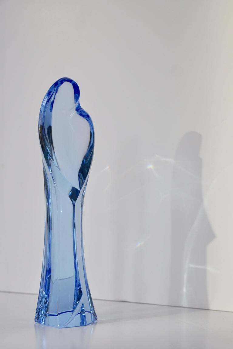 Madonna and Child Sapphire Blue Crystal Sculpture For Sale 1