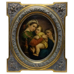 """""""Madonna of the Chair"""" 18th Century Italian Oil Painting, Large"""