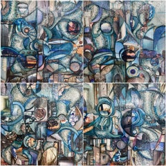 'Habitat', Mixed Media, Abstract Painting, Glass on Wood Panel Quadriptych