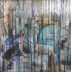 """""""Parhways Triptych"""" by Madonna Phillips Mixed Media Glass, Paint on Wood"""