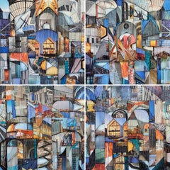 'Sinuous' Quadriptych Abstract Architectural Painting