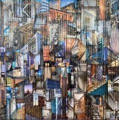 'Breakthrough I', Mixed Media Abstract Painting, Glass, Paint, Collage on Wood