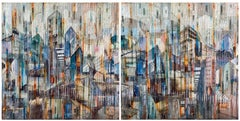 'A Delicate Balance' Mixed Media Diptych, Abstract Painting, Glass on Wood Panel