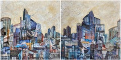 'Rim City', Mixed Media, Abstract Painting, Glass on Wood Panel, Diptych