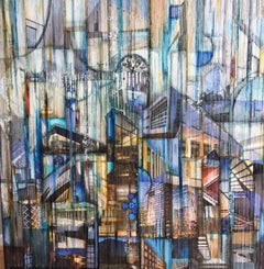 'Swerve I', Mixed Media, Abstract Painting, Glass on Wood Panel