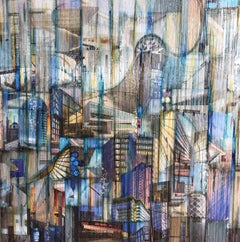 'Swerve II', Mixed Media, Abstract Painting, Glass on Wood Panel