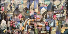 'Urban Overstory', Mixed Media, Abstract Painting, Glass on Wood Panel, Diptych