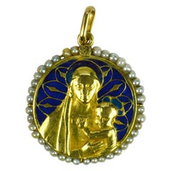 Madonna Plique-A-Jour Enamel Pearl 18k Yellow Gold Pendant