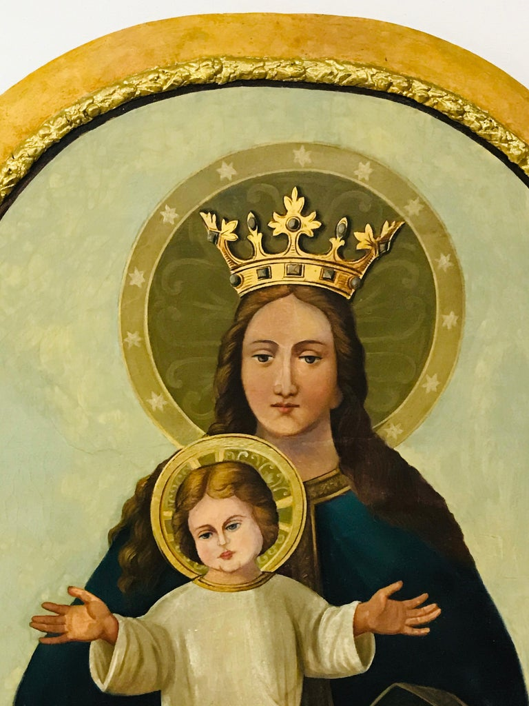 Madonna with a child is painted oil on the canvas. A frame of the picture is made of wood. All the picture is in original condition.