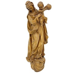 Madonna with Child Wall Sculpture Beautiful Woodwork, 20th Century