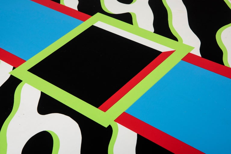 """Table """"Madras"""" by Nathalie du Pasquier for Memphis, Italy, circa 1986  Wood, plywood, polychromatic plastic laminate. Italy, circa 1986. Measures: 75 cm H x 160 W x 85 cm D."""