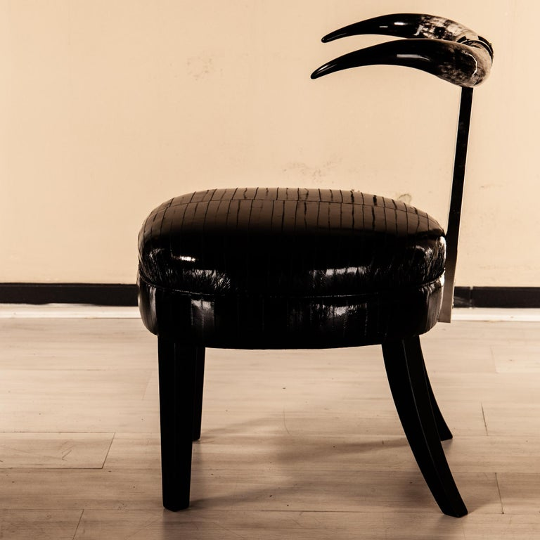 Italian Madrid Sculptural Dining Chair, Brass, COM/Fabric Upholstered Natural Horns For Sale