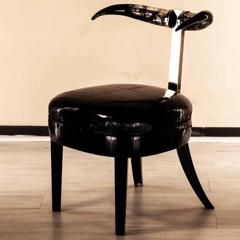 20th Century Madrid Sculptural Dining Chair, Brass, COM/Fabric Upholstered Natural Horns For Sale